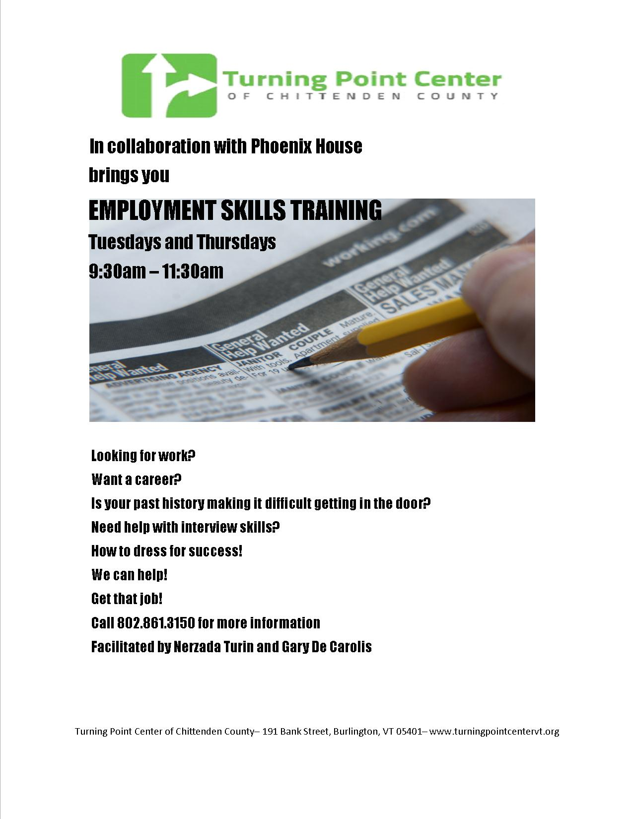 employment skills training available at the turning point center employment skills training available at the turning point center of vt