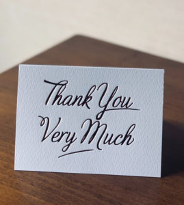 "Note card saying ""Thank You Very Much"""